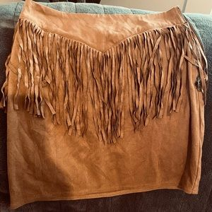 Country style suede tassel mini skirt